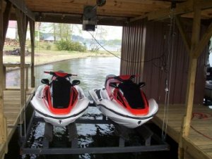 Lifts are available for jet skis in addition to boats